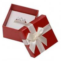 Buy cheap White Ribbon Jewelry Paper Boxes Red Printing Eco Friendly Material For Ring Gifts product