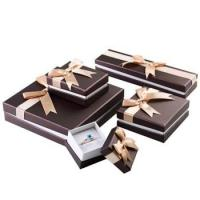 Buy cheap Stylish Design Cardboard Jewelry Gift Boxes With Bow Velvet Foam Insert product