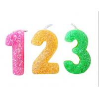 Quality Rainbow Color Glitter Number Candles For Birthday / Charistmas / Party Decoration for sale