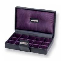 Buy cheap full black color hinged watch box with EVA pad and cushion product