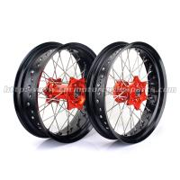 Buy cheap Anodized 17 Inch Motorcycle Wheels , Black Spoked Motorcycle Wheels For Harleys from wholesalers