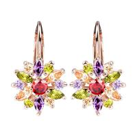 Luxury Gold Color Flower Stud Earrings with Cubic Zirconia Stone for women 3 colors