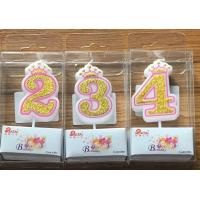 Buy cheap White Candle  Gold painting and Pink line with Cute Crown Number Birthday Candles 0-9 from wholesalers