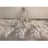 Off White Mesh 3D Flower Embroidery Beaded Lace Fabric 50