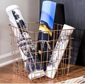 Carbon Steel Rectangle 13 Inch Wire Basket Copper Magazine Storage Basket