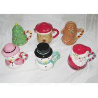Easy Clean Dolomite Hand Painted Christmas Themed Mugs Food Grade With Covered