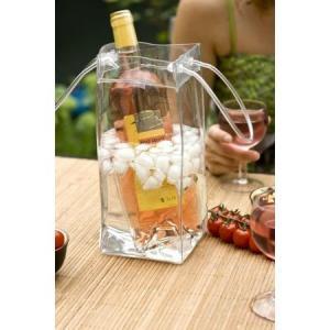 Transaprent Wine Cooler Bag Lightweight Champagne Carrying With Front Pocket