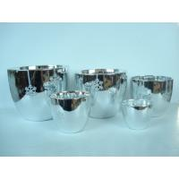 Buy cheap Silver Electroplated Ceramic Flower Pots For Plants Indoor 15.1 X 15.1 X 14.5 Cm product