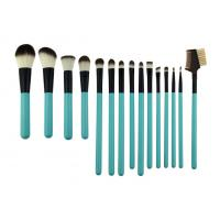 Cosmetic Green Professional 15 Piece Makeup Brush Set Wih Synthetic Hair