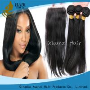 Black  Remy Human Hair Extensions , Soft Virgin Human Hair Bundles 100% Virgin Hair