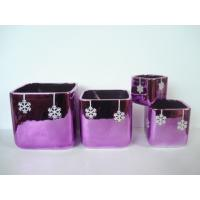 Buy cheap Purple Electroplate Ceramic Indoor Plant Pots , Square Ceramic Pots For Plants 10 X 10 X 10 Cm product