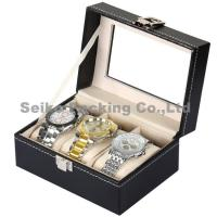 Buy cheap Wholesale Black Letherette Watch Box 3 Grids with Pillows product