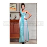New arrival blue white one shoulder long sequin prom dress