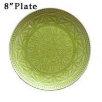 "Buy cheap 8"" Debossed Crackle Ceramic Plate product"