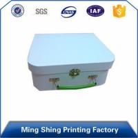 Buy cheap Paper Material, Glossy Stamping custom paper cardboard lock storage box with handle product