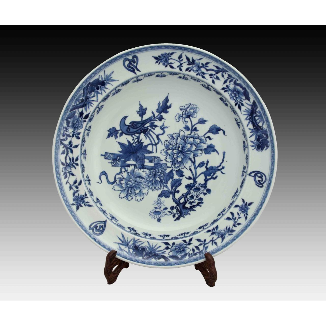 Blossom of Fortune Flowers Blue-and-white Porcelain Plate