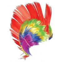 Adult Rainbow And Pink School And Team Spirit Mohawk Wig