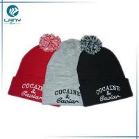 Wholesale custom cheap adult knitted pom pom beanie hats