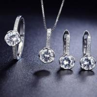 Factory price 925 sets of silver jewelry chic cubic zirconia jewelry sets
