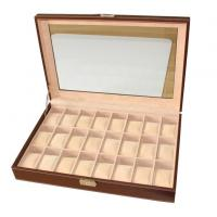 Buy cheap 24 Slots Mens Watch Box PU Leather Watch Case Glass Top Watch Display Organizer product